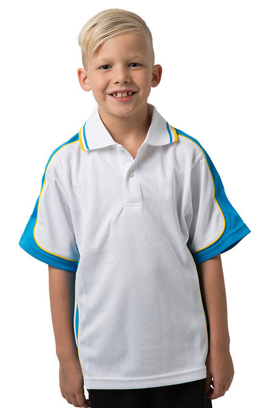 Be Seen-Be Seen Kids Polo Shirt With Striped Collar 5th( 12 White Color )-White-Hawiianblue-Yellow / 6-Uniform Wholesalers - 6