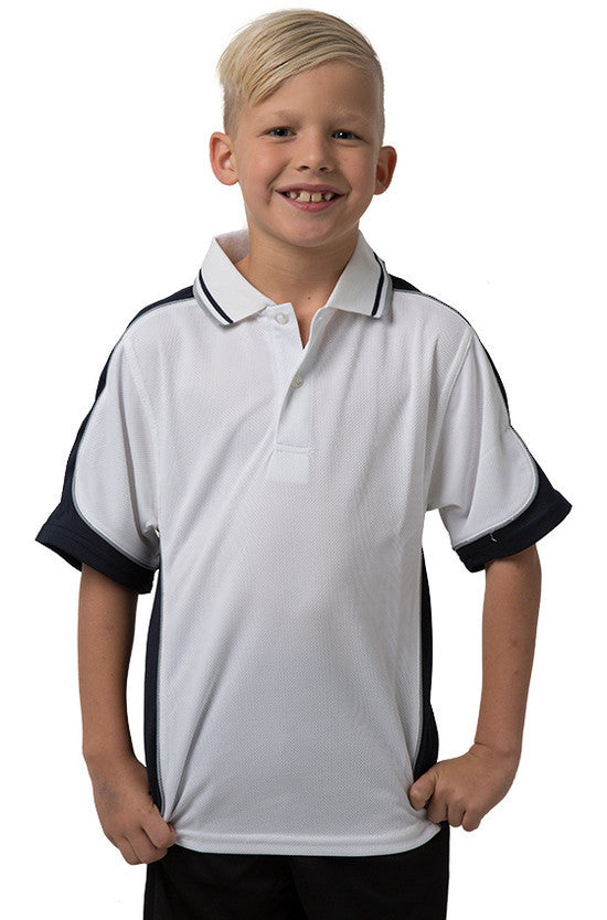 Be Seen-Be Seen Kids Polo Shirt With Striped Collar 5th( 12 White Color )-White-Navy-Grey / 6-Uniform Wholesalers - 7