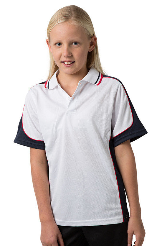 Be Seen-Be Seen Kids Polo Shirt With Striped Collar 5th( 12 White Color )-White-Navy-Red / 6-Uniform Wholesalers - 8