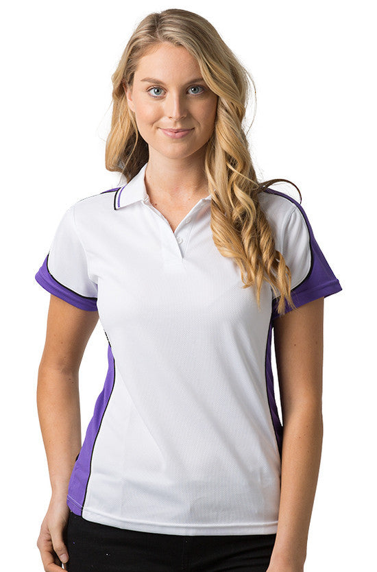 Be Seen-Be Seen Ladies Polo Shirt With Striped Collar 2nd( 7 Color )-White-Purple-Black / 8-Uniform Wholesalers - 6