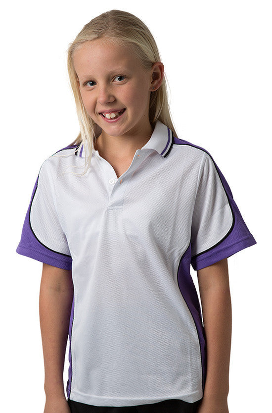 Be Seen-Be Seen Kids Polo Shirt With Striped Collar 5th( 12 White Color )-White-Purple-Black / 6-Uniform Wholesalers - 9