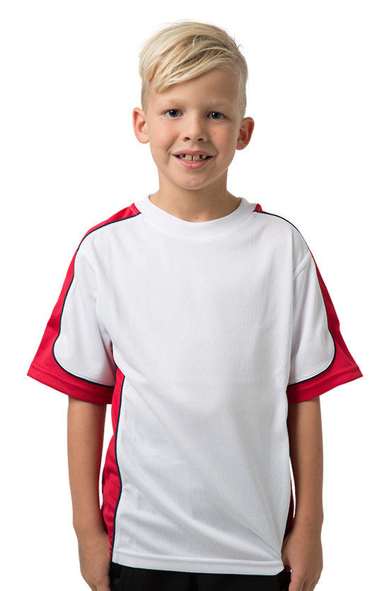 Be Seen-Be Seen Kids Short Sleeve T-shirt-White-Red-Navy / 6-Uniform Wholesalers - 15