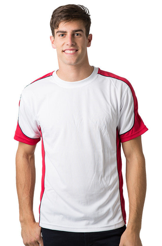 Be Seen-Be Seen Men's Short Sleeve T-shirt With Contrast 2nd( 7 Color )-White-Red-Navy / XS-Uniform Wholesalers - 8