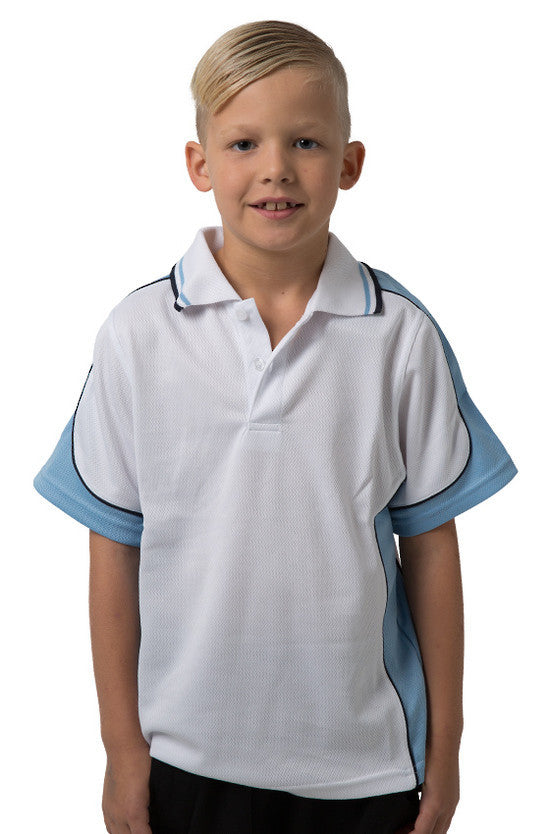 Be Seen-Be Seen Kids Polo Shirt With Striped Collar 5th( 12 White Color )-White-Sky-Navy / 6-Uniform Wholesalers - 12