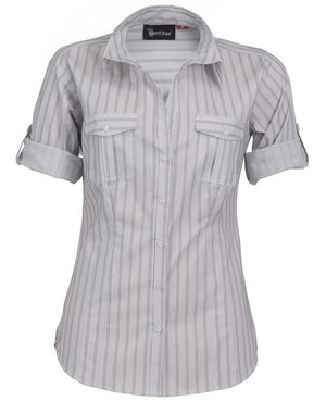 identitee-Identitee Ladies Cassidy 3/4 Sleeve(New Style)-White/Steel Grey / 8-Uniform Wholesalers - 2