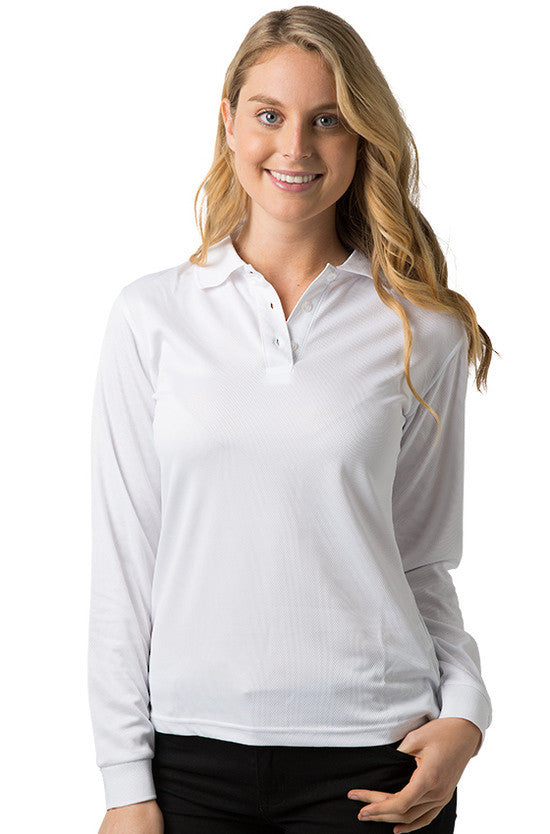Be Seen-Be Seen Ladies Long Sleeve Plain Polo Shirt With Ribbed Cuffs-White / 8-Uniform Wholesalers - 5