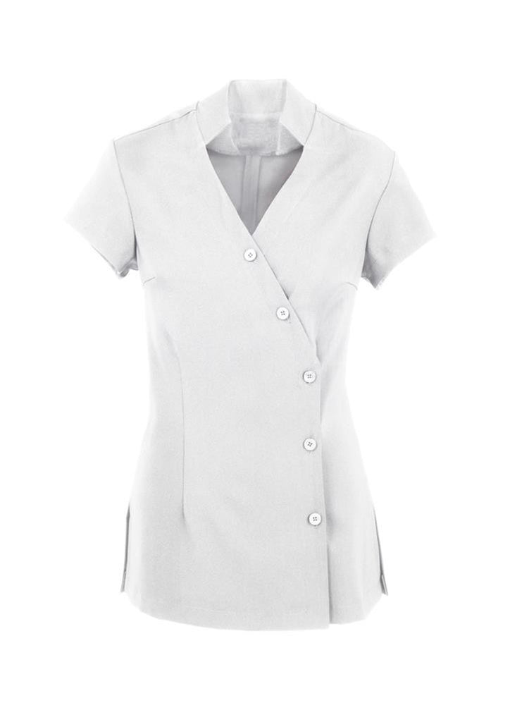 Biz Collection-Biz Collection Ladies Zen Crossover Tunic-White / 6-Uniform Wholesalers - 2