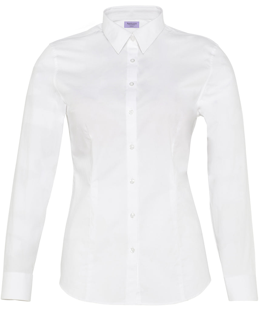 Van Heusen-Van Heusen Ladies Cotton Stretch Poplin Classic Fit Shirt-6-AB / White-Uniform Wholesalers - 2