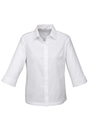 Biz Collection-Biz Collection Ladies Luxe 3/4 Sleeve Shirt-White / 6-Uniform Wholesalers - 3