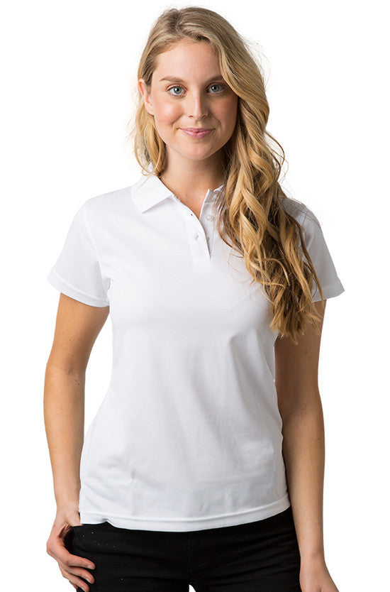 Be Seen-Be Seen Ladies Plain Polo Shirt With Herringbone Tape At Neck-White / 8-Uniform Wholesalers - 12