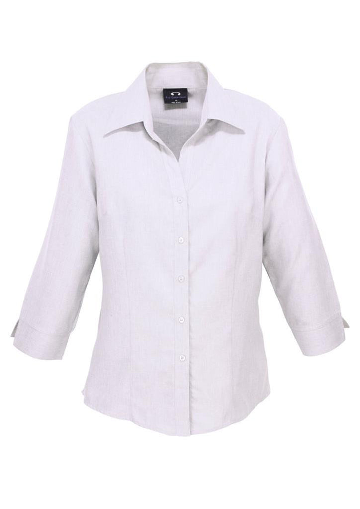 Biz Collection-Biz Collection Ladies Plain Oasis Shirt-3/4 Sleeve-White / 6-Uniform Wholesalers - 10