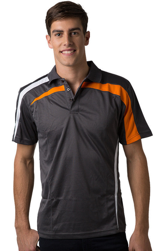 Be Seen-Be Seen Adults Polo Shirt With Contrast Side And Shoulder Panel-Charcoal-White-Orange / S-Uniform Wholesalers - 5