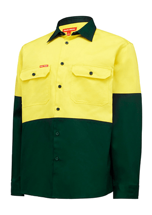 Hard Yakka Hi Vis L/Sl H/Weight 2Tone Cotton Drill Shirt (Y04605)