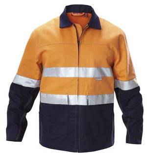 Hard Yakka-Hard Yakka  Hi-visibility Two Tone Cotton Drill Work Jacket With 3m Tape-Orange/Navy / S-Uniform Wholesalers - 1
