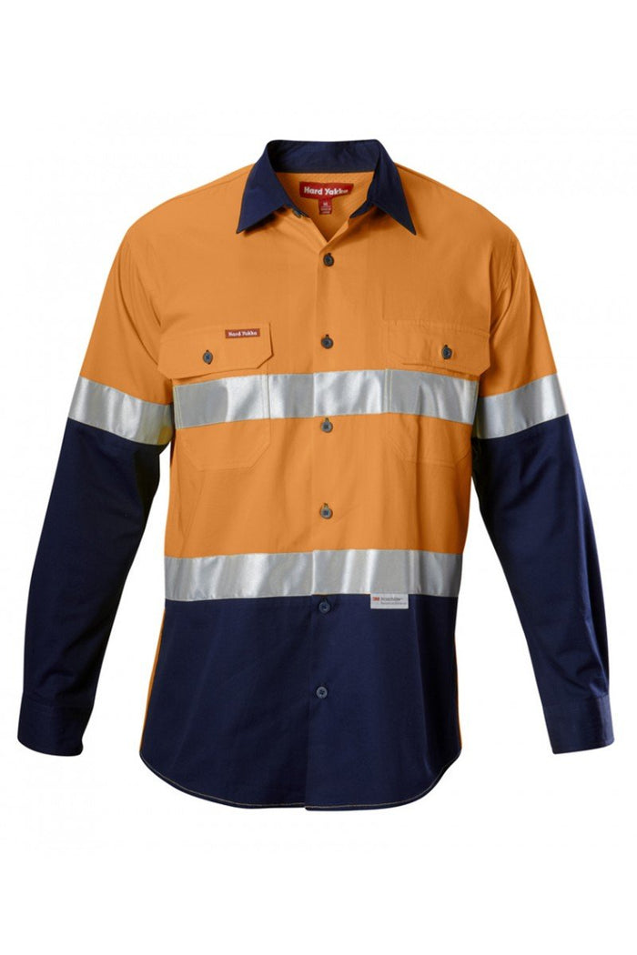 Hard Yakka  Koolgear Hi-visibility Two Tone Cotton Twill Ventilated Shirt With 3m Tape Long Sleeve (Y07978)