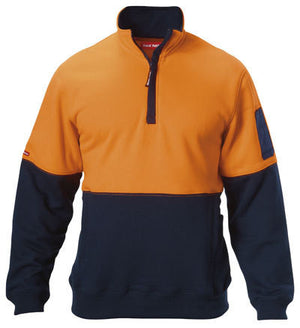 Hard Yakka-Hard Yakka Hi-visibility Two Tone Brushed Fleece 1/4 Zip Jumper-Orange/Navy / XS-Uniform Wholesalers - 1