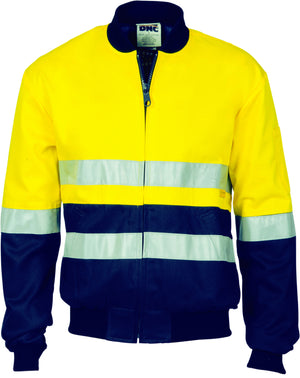 DNC Workwear-DNC Hi-Vis Two Tone D/N Cotton Bomber Jacket with 3m r/tape-Yellow/Navy / XS-Uniform Wholesalers - 2