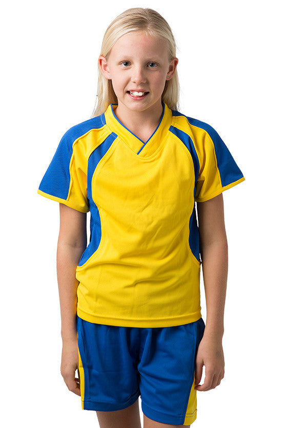 Be Seen-Be Seen Kids V-neck T-shirt With Contrast Shoulder-Yellow-Royal / 6-Uniform Wholesalers - 8