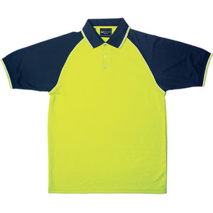 Bocini-Bocini Hi-Vis Raglan Sleeve Polo-Yellow/Navy / S-Uniform Wholesalers - 2