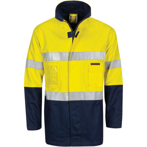 "DNC Workwear-DNC Hi-Vis Cotton Drill ""2 in 1"" Jacket with Generic Reflective R/Tape-Yellow/Navy / XS-Uniform Wholesalers - 2"