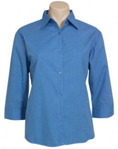Biz Collection-Biz Collection Ladies Micro Check 3/4 Sleeve Shirt-Mid Blue / 8-Uniform Wholesalers - 1