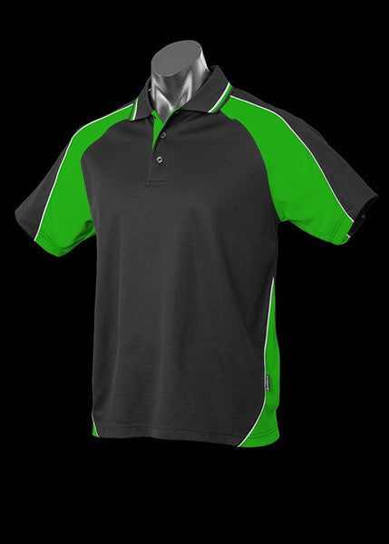 Aussie Pacific-Aussie Pacific Kid's Panorama Polo-Black/Kawa Green/White / 4-Uniform Wholesalers - 3