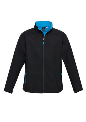 Biz Collection-Biz Collection  Kids Geneva Softshell Jacket-Black/Cyan / 6-Uniform Wholesalers - 5