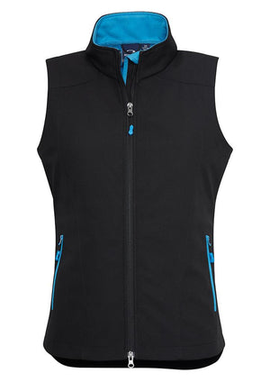 Biz Collection-Biz Collection Ladies Geneva Vest-Black/Cyan / S-Uniform Wholesalers - 3