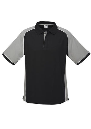 Biz Collection-Biz Collection Mens Nitro Polo-Black / Grey / White / S-Uniform Wholesalers - 7