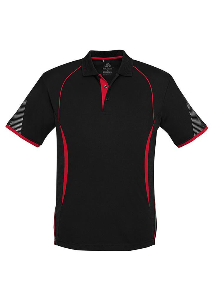 Biz Collection-Biz Collection  Mens Razor Polo-Black/Red / S-Uniform Wholesalers - 2