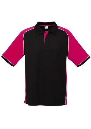 Biz Collection-Biz Collection Mens Nitro Polo-Black/Magenta/White / S-Uniform Wholesalers - 8