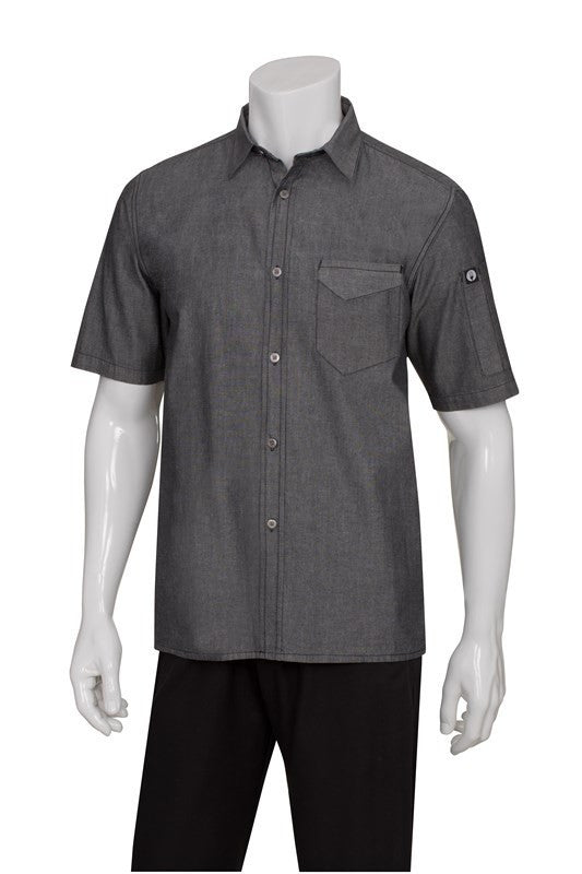 Chef Works-Chef Works Detroit Short-Sleeve Denim Shirt-Black / XS-Uniform Wholesalers - 1