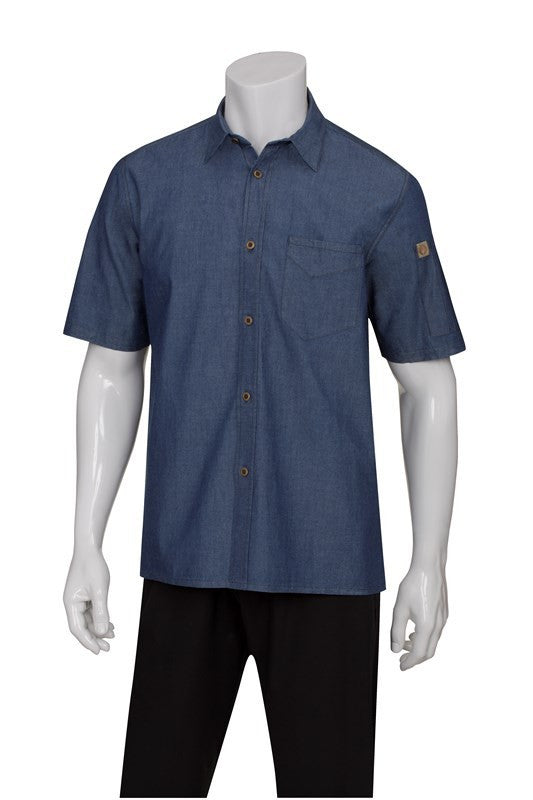 Chef Works-Chef Works Detroit Short-Sleeve Denim Shirt-Indigo Blue / XS-Uniform Wholesalers - 2