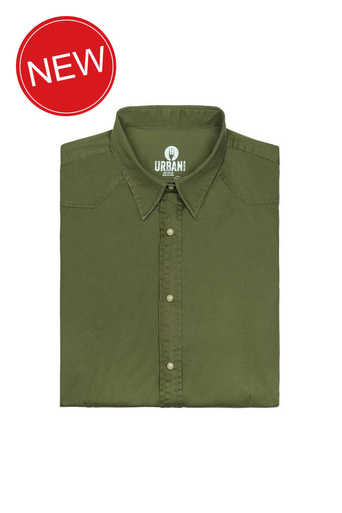 Chef Works-Chef Works Fremont Mens Shirt w/ Pearl Press Stud-Clover / XS-Uniform Wholesalers - 2