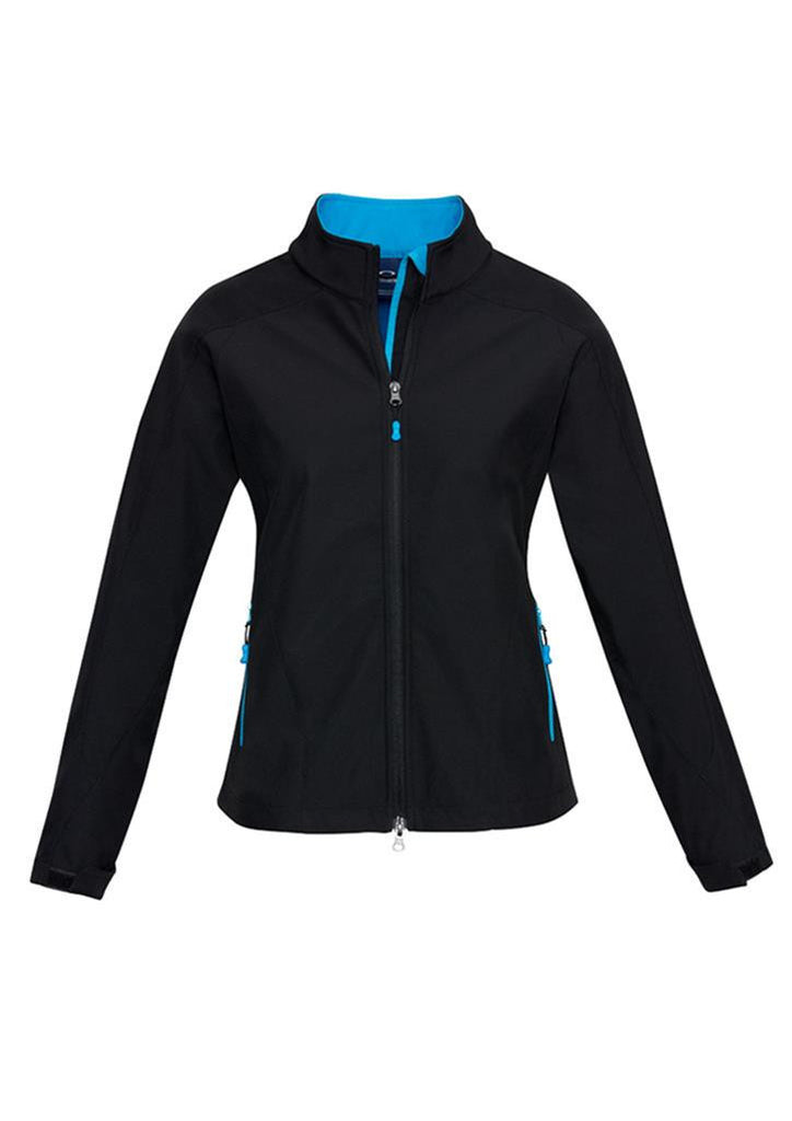 Biz Collection-Biz Collection Geneva Ladies Softshell-Black/Cyan / S-Uniform Wholesalers - 2