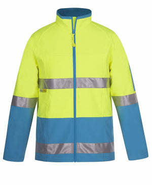 JB's Wear-JB's Hi Vis (D+N) SoftShell Jacket - Adults-LIME/AQUA / XS-Uniform Wholesalers - 4