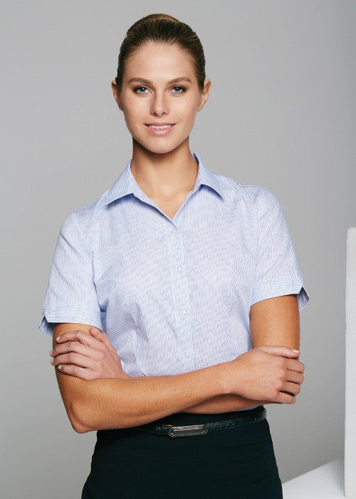 Aussie Pacific-Aussie Pacific Lady Henley S/S Sleeve Shirt--Uniform Wholesalers