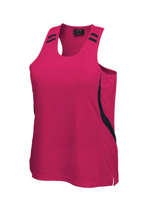 Biz Collection-Biz Collection Ladies Flash Singlet 2nd (6 colour)-Hot Pink/Black / 6-Uniform Wholesalers - 2
