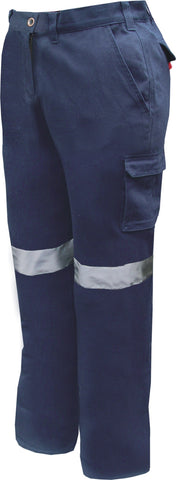 Prime Mover-Prime Mover Ladies Cotton Drill Pants with 3M Tape-6 / Navy-Uniform Wholesalers