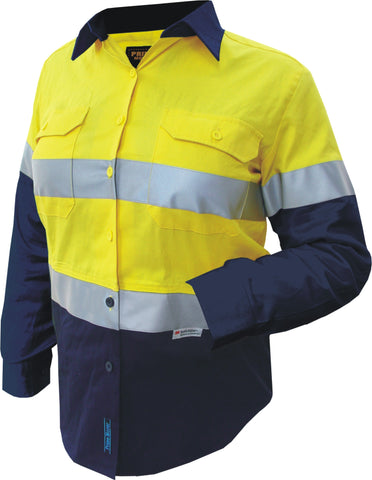 Prime Mover-Prime Mover Ladies 2 Tone Cotton Drill Shirt Long Sleeve-6 / Yellow/Navy-Uniform Wholesalers - 1