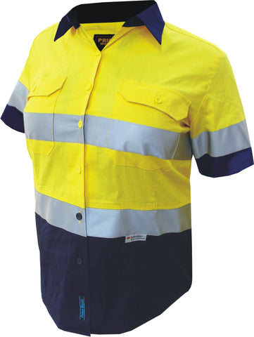 Prime Mover-Prime Mover LADIES Cotton Drill Shirt Short Sleeve with 3M Tape-Yellow/Navy / 6-Uniform Wholesalers - 1