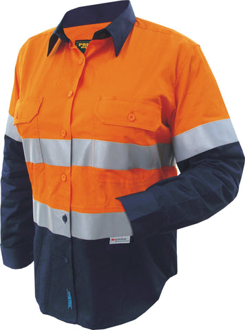 Prime Mover-Prime Mover Ladies 2 Tone Cotton Drill Shirt Long Sleeve-Orange/Navy / 6-Uniform Wholesalers - 1