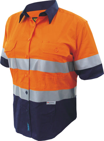 Prime Mover-Prime Mover Ladies 2 Tone Cotton Drill Shirt Short Sleeve-Orange/Navy / 6-Uniform Wholesalers - 1