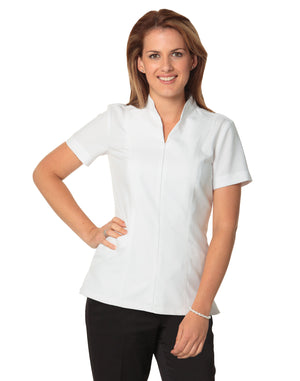 Winning Spirit-Winning Spirit Women's Full Zip Front Short Sleeve Tunic-6 / White-Uniform Wholesalers