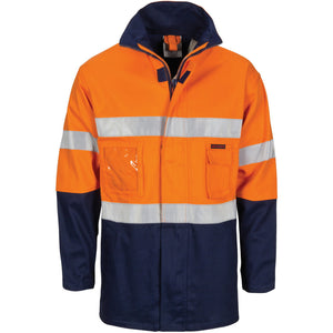"DNC Workwear-DNC Hi-Vis Cotton Drill ""2 in 1"" Jacket with Generic Reflective R/Tape-Orange/Navy / S-Uniform Wholesalers - 1"