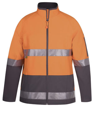 JB's Wear-JB's Hi Vis (D+N) SoftShell Jacket - Adults-ORANGE/CHARCOAL / XS-Uniform Wholesalers - 5