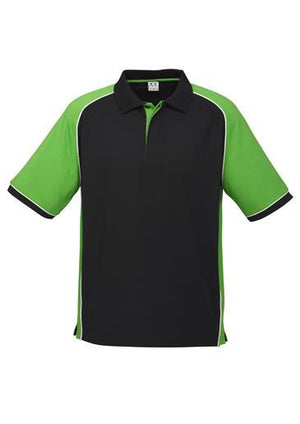 Biz Collection-Biz Collection Mens Nitro Polo-Black / Green / White / S-Uniform Wholesalers - 2