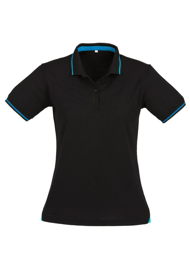 Biz Collection-Biz Collection Ladies Jet Polo-Black / Cyan Blue / 8-Uniform Wholesalers - 2