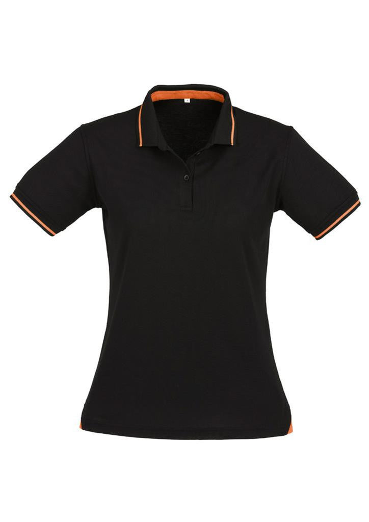 Biz Collection-Biz Collection Ladies Jet Polo-Black / Orange / 8-Uniform Wholesalers - 4