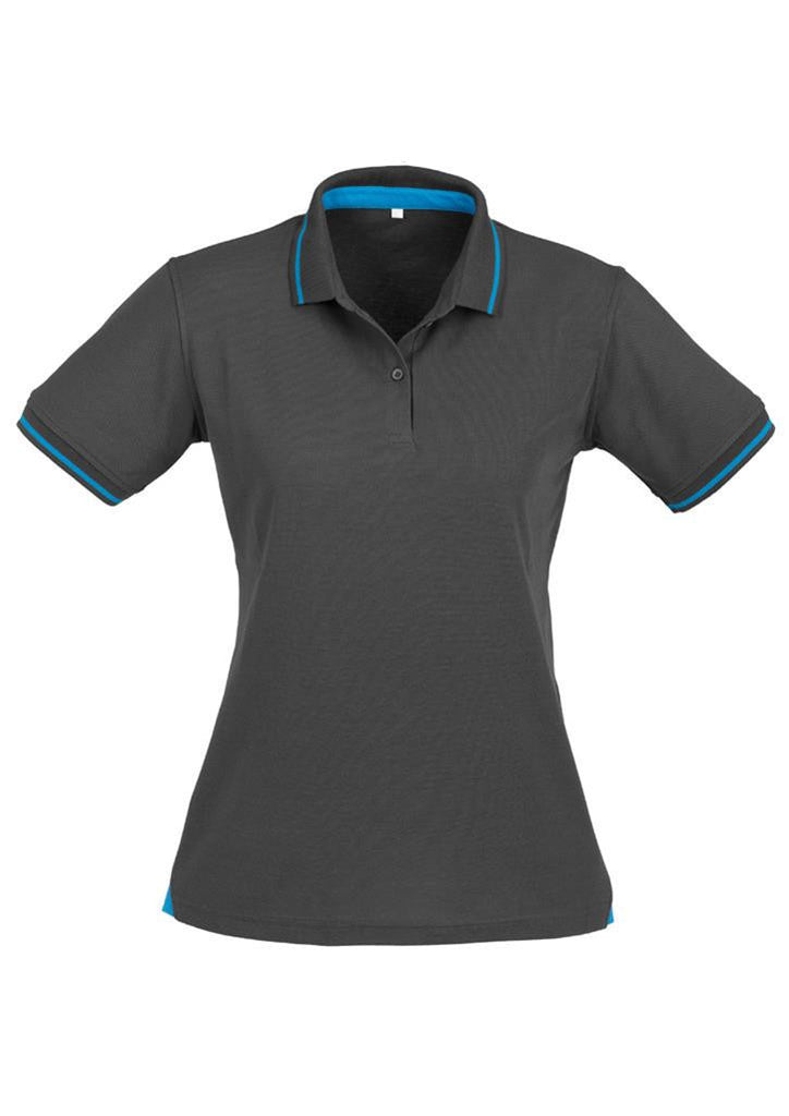 Biz Collection-Biz Collection Ladies Jet Polo-Grey / Cyan Blue / 8-Uniform Wholesalers - 7